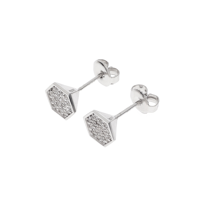 silver hex pyramid earrings B