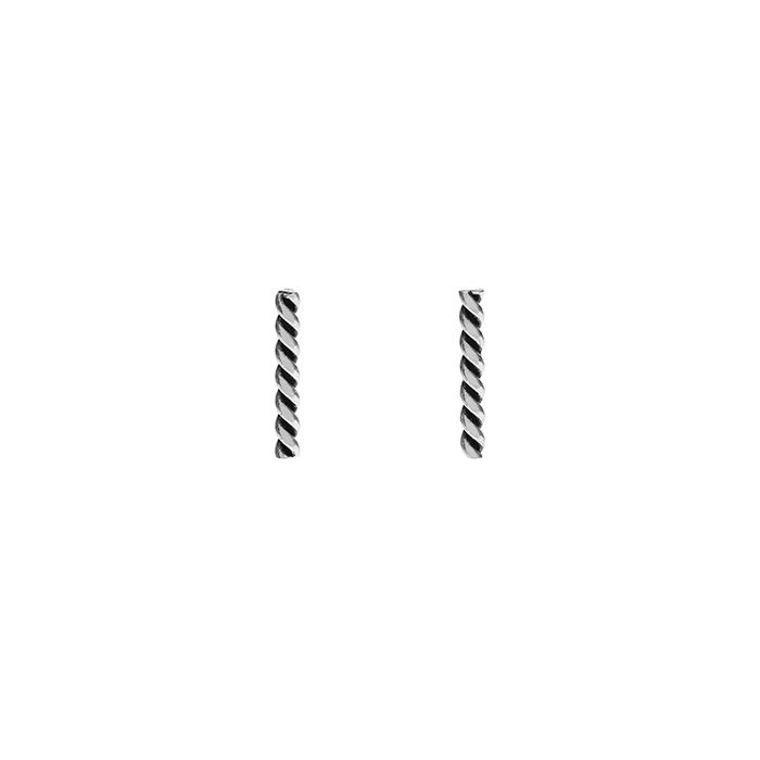 Silver Twist Bar Earrings