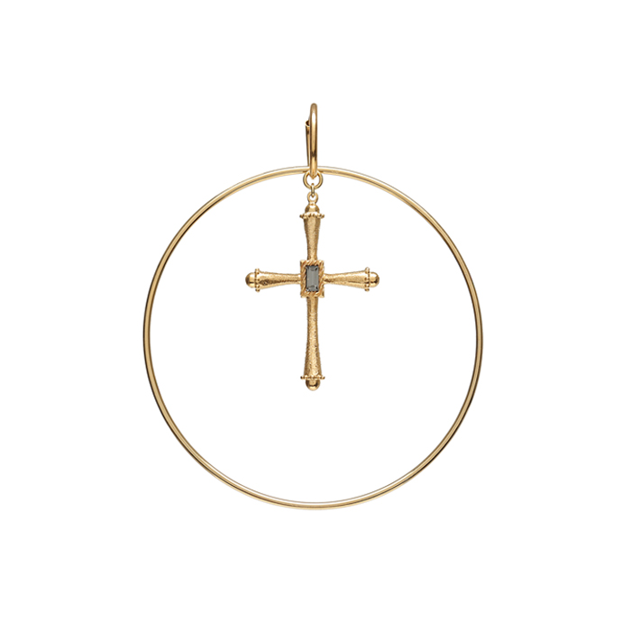 Dreamer Big Cross Hoop Single Earring B