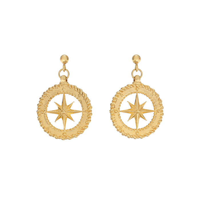 Midnight Sun Compass Earrings