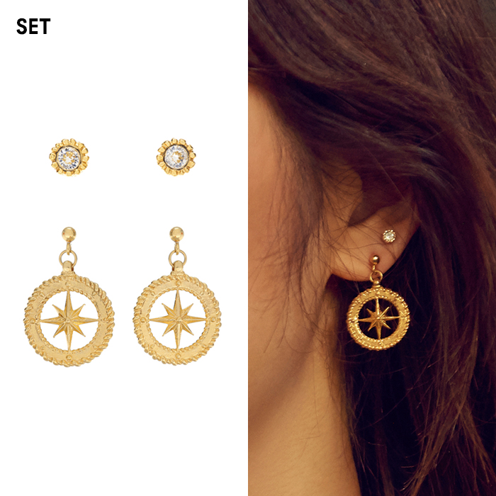Midnight Sun Compass Earrings Layering