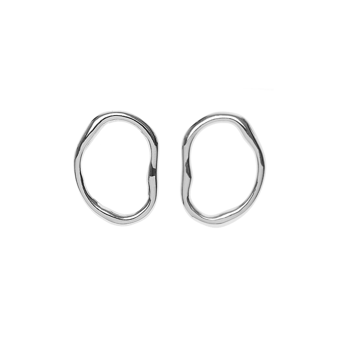 Flow Small Wave Circle Earrings